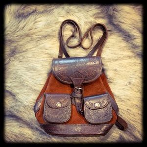 Sweet Vintage Hand-tooled Leather Mini Backpack